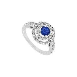 Blue Sapphire and Diamond Ring  14K White Gold   1.75 CT
