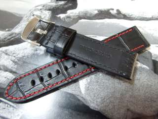 Genuine Leather Watch Strap   Crocodile Grain with Red Stitching