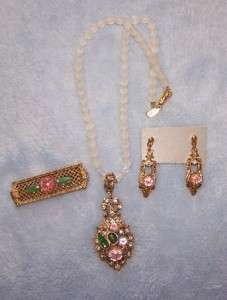 1928 FROSTED FRUIT SALAD NECKLACE BROOCH EARRINGS