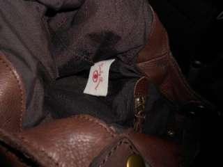 LUCKY BRAND BIG PRINTED CANVAS & LEATHER HOBO TOTE BAG