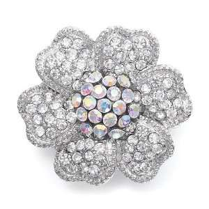 Crystal Flower Stretch Ring with AB Center Everything