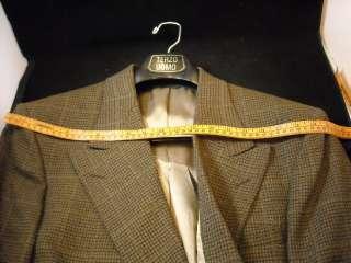 Mens Bill Blass double breasted gray brown wool blazer