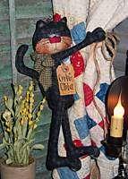 Primitive Black Kitty Cat Doll Hang Ornie Pattern #347