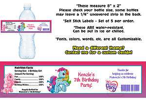 Pony ~ Printed Water Bottle Labels ~ Birthday Party Favors Supplies