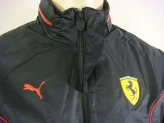 Official Ferrari Scuderia men black sport light windbreaker jacket NWT