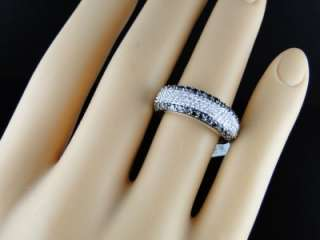 MENS WOMENS WHITE GOLD BLACK AND WHITE DIAMOND WEDDING FASHION BAND