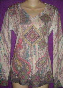 RENEE Tissue TRIBAL Ethnic TATTOO BURNOUT Jersey Tee T SHIRT Top S NWT