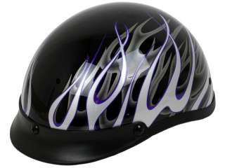 Black Purple Fire Motorcycle Half Helmet Shorty DOT APPROVED Bike