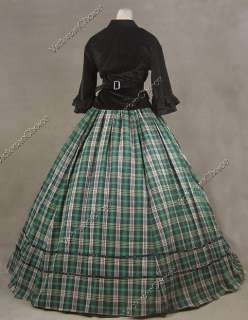 Civil War Victorian Tartan Velvet Ball Gown Day Dress Prom 160 S