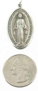 ANTIQUE STERLING SILVER LARGE BLESSED MOTHER MIRACULOUS MEDAL PENDANT