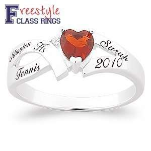 Ladies Sterling Silver Split Band Heart Class Ring Jewelry
