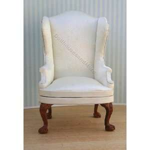 Miniature White Satin Wing Chair with Queen Anne Legs Toys & Games