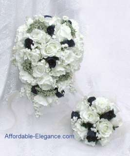 NAVY BLUE Cream White SILK Wedding Set ROSES Bouquets