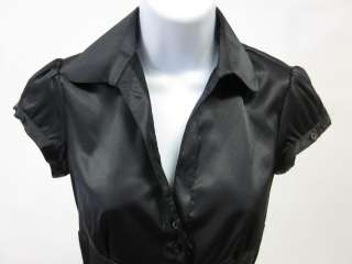 ZARA Black Short Sleeve Shirt Blouse Top Sz XS