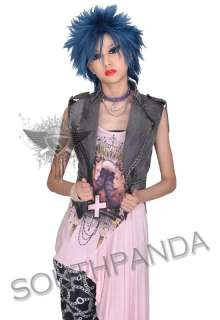 SC209 Grey Punk Rock Gothic Denim Stud Vest Jean Jacket