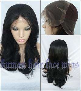 Customize Body Wave Full Lace Wig Indian Remy Human Hair #1 Jet Black