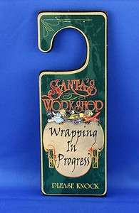 Christmas Door Knob Sign Santas Workshop No Peeking!