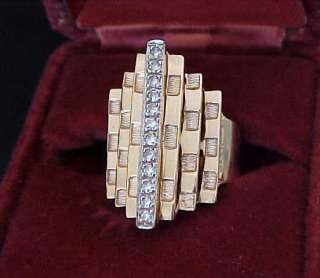 Bolder VINTAGE .24 CTS GENUINE DIAMOND 14k Yellow Gold Stepped Ring