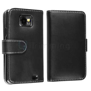 Black Pouch Case+Charger+Cable+Privacy LCD Film For Samsung Galaxy S