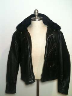 VTG 70s LESCO Perfecto Black Leather MOTORCYCLE JACKET Fur lined