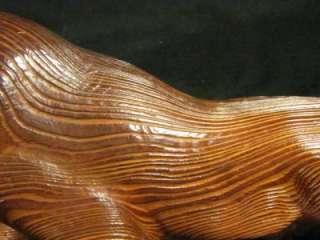 VINTAGE WOOD TIGER TORA CARVED LARGE STATUE RARE ART SIGNED BOX CAT