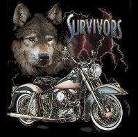 Biker T Shirt Survivors Motorcycle T Shirt S,M,L,XL