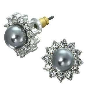 Plated Black Pearl Genuine Swarovski Crystal Earrings