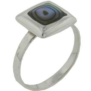 Square Cut Abalone Sterling Silver Rings Pugster Jewelry