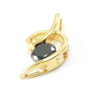 Pendant plated gold Câlin black. Jewelry