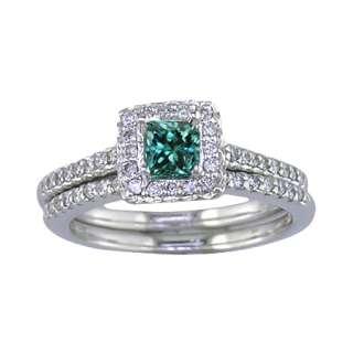 CT BLUE & WHITE DIAMOND ENGAGEMENT RING SET 14K WG