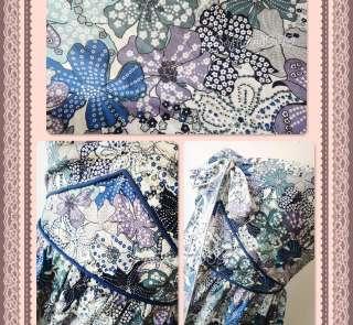 NEW Multi Blue Tone Floral Print Strapless/Halter FULL Flare Skirt