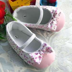 Beauty Cotton Pink Dot with Bow Mary Jane Baby Girls Ballet Shoes US