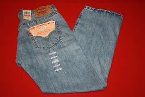 NWT NEW MENS LEVIS 501 0134 LIGHT STONEWASH BUTTON FLY JEANS