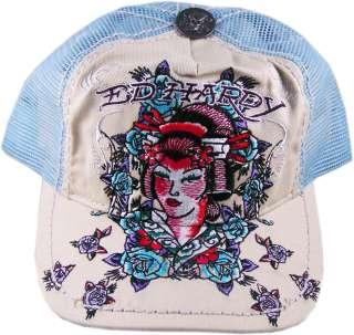 Ed Hardy Geisha Blue Tan Mesh Tattoo Trucker Hat Cap