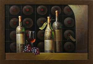 Grapes Wine Bottles Cellar Glass Still Life Art FRAMED OIL PAINTING