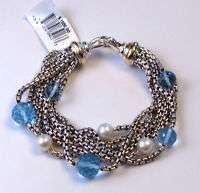 NWT DAVID YURMAN Silver & Yellow Gold Blue Topaz Pearl Multi Chain