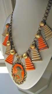 Art Deco EGYPTIAN REVIVAL Czech Step Glass Cameo Necklace (A34)