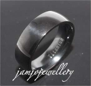 7MM ROUNDED BLACK IP PLATED SOLID TITANIUM BAND RING   BRAND NEW   RRP