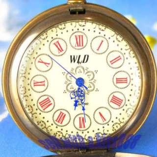 VINTAGE Train Steam Engine Pattern Pocket Watch Old