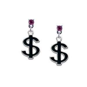 Black Dollar Sign Hot Pink Swarovski Post Charm Earrings