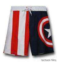 Licensed Marvel Comics Captain America Shield Symbol Board Shorts