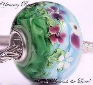 HANDMADE MURANO GLASS LAMPWORK SPRING DAY BIRD BRACELET BEAD CHARM