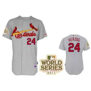 2012 New MLB St. Louis Cardinals #24 Herzog White/grey Jerseys Size 48