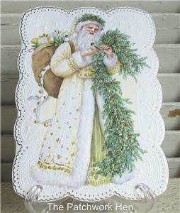 Carol Wilson Embossed Christmas Greeting Card Victorian Santa Claus