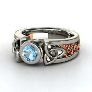 Celtic Sun Ring, Round Blue Topaz Sterling Silver Ring