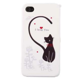 The Black Cat Red Heart Hard Case Cover For iPhone 4 4S