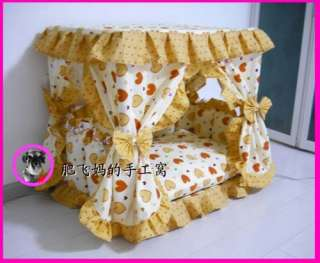Sweet Princess Dog Cat handmade bed house yellow S,M