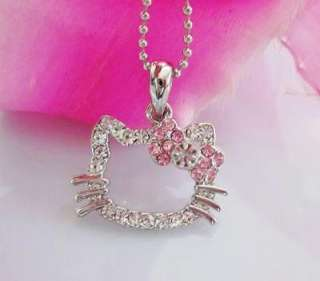 cute small hello kitty pink face crystal necklace child gift eL17