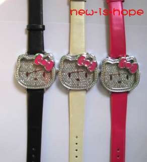 5pcs x fashion hellokitty girl women lady crystal quartz analog wrist