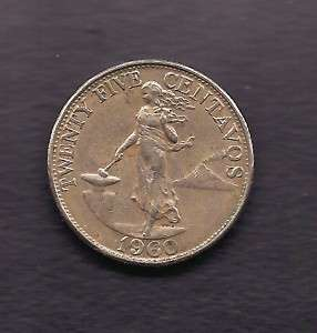 World Coins   Philippines 25 Centavos 1960 Coin KM# 189